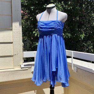 Alice + Olivia Silk Chiffon Blue Dress Halter